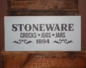 Rustic Stoneware Crocks Jugs Jars Wood Sign