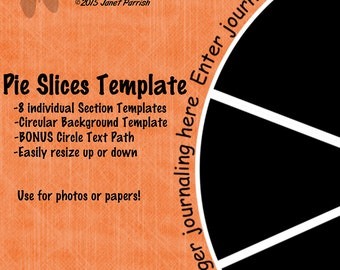 Digital Pie Slices Template and Text Path, round template with 8 photo sections & text path around outside edge-INSTANT DOWNLOAD