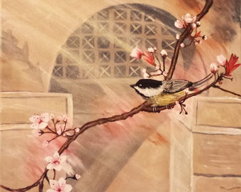 acrylic painting, bird on a cherry blossom tree