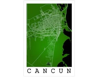 Cancun City Street Map, Cancun Mexico, Modern Art Print Cancun Wall Art, Cancun Gift Idea, Cancun Street Map, Cancun Map, Cancun Wall Decor