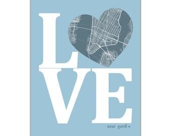 New York City New York Street Map Love Modern Art Print