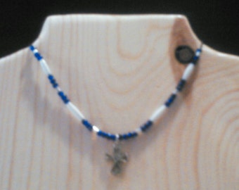 Beaded jewelry Cross Native American style  necklace