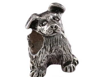 Floppy Eared Puppy Dog Large Hole Sterling Silver Bead - Compatible with ALL Popular Bracelet Brands - Made in the USA! - Item #13239