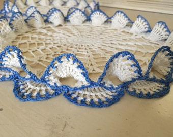 Vintage White And Blue Trimed Doilies