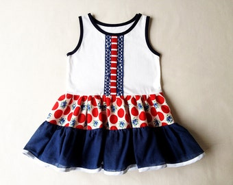 Baby girl dress Baby girl outfit Polka dot dress Sleeveless baby dress Red dots and blue flowers dress 86cm 18 months Little girl dress