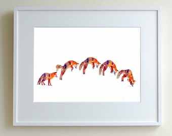 Pouncing fox study, limited edition print of 150