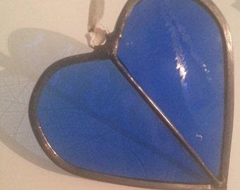 Stained Glass Heart Suncatcher 11cm - Blues