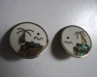 Vintage Earclips Mother of Pearl Inlay.