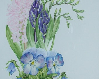 Original watercolour painting of Spring Flowers. Unframed without mount.