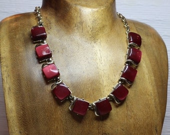 Red Coro Choker Style Necklace