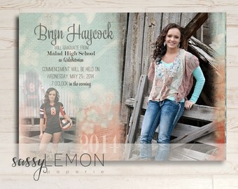 Bryn Graduation Announcement - Turquoise, Coral, Trendy, Class of 2015