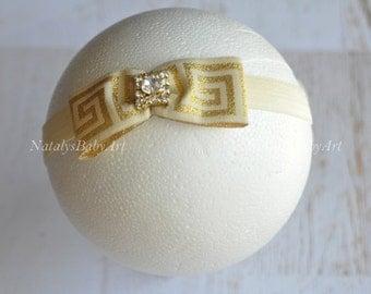 Athena headband Gold baby Girl Headband Gold grecian baby hairband Gold baby girl headband