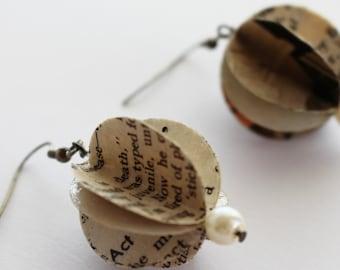 Paper drop earrings using vintage magazines.