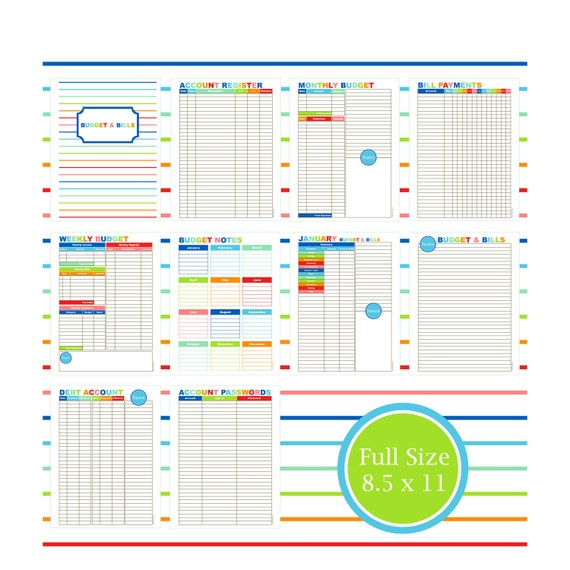 The Budget & Bill Kit Budget Planner Printable Budget Bill