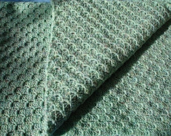 Garden - a beautiful light green crocheted single bed afghan