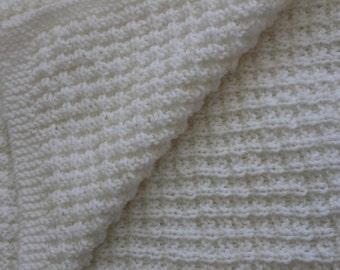 Hand Knit White Baby Blanket