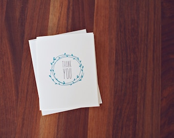 Thank You w/ wreath A2 Letterpress cards