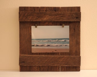rustic reclaimed wood frame with antiqued bronze picture clips pallet frame picture frame