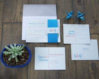 Modern Wedding Invitation | Colorful Wedding Invitation | Coral and Blue Wedding Invitation | The Salley | SAMPLE