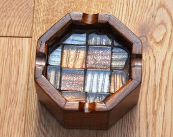 Ashtray crafted in wood and glass