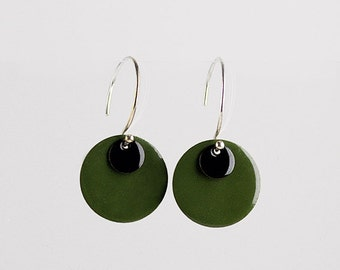 EIGHT - silver, green and black earrings