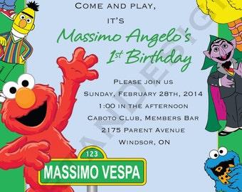 Sesame Street Birthday Invitation, Green Border,
