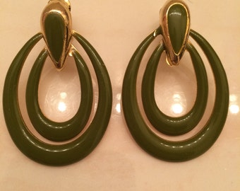 Vintage 1960's Avocado green clip on earrings
