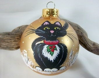 Kitty Cat Ornament, Christmas Cat, Black and White Cat,  2 5/8 inch Ornament, Gold Satin Bulb