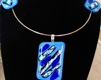 Dichroic glass pendant with matching earrings