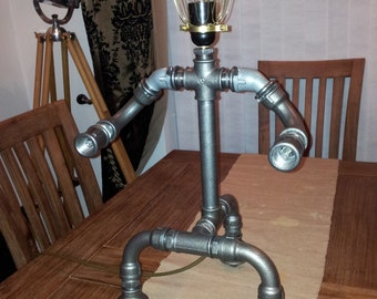 The steampunk robot table lamp, industrial steel light, Pipe Art.