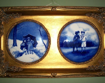 Gold Guilted Ornate Framed Antique Blue And White Enamel Paintings Circa 1900s