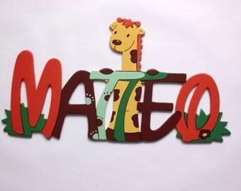 """Door sign, nameplate """"Giraffe"""""""