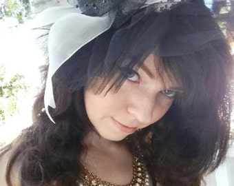 OOAK Black and Pink Hat Headband