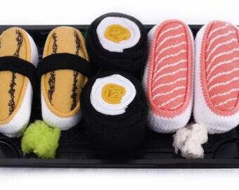 Sushi Socks Box 3 pairs Tamago Salmon Oshinko Maki Cool Gift Present Gadget