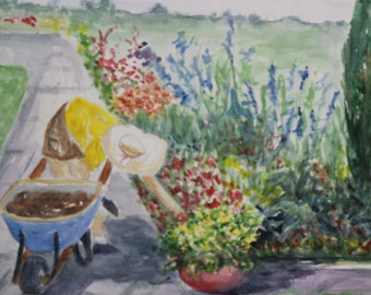 Garden Day-Print from original watercolor painting