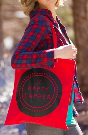 Happy Camper Red Canvas Tote Bag