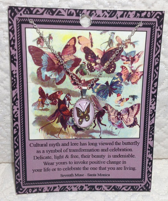 Butterfly Charm Necklace on Poem Card