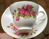 "SWEET PINK ROSES Vintage Teacup and Saucer Pink Bouquet of Roses Fine Bone China by Sadler ""Wellington"""