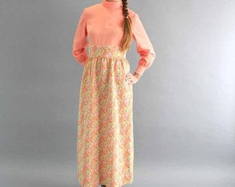 1960s hostess dress . 60s 70s maxi dress . coral dress full length . mock neck peach dress . vintage womens clothing medium large