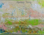 Minimalist Art Original Mixed Media Collage Art Painting - Serene Landscapes Series - Spring Green - SHIPS FREE