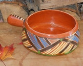 Bandera Red Terra Cotta Cooking Pot Mexico Handthown Handpainted 1950s Pottery For Summer BBQs