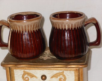 Drip Edge Coffee Mugs Set Of Two  Ribbed Pinched 1960s Retro Mid Century Vintage Kitchen Ware