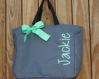 5 Personalized Bridesmaids Gift Tote Bags Monogrammed Tote, Bridesmaids Tote, Personalized Tote Wedding, Bridal Party Gift, Bridesmaids Bag
