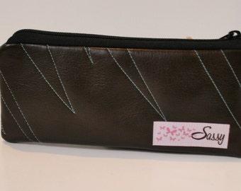 Brown Vinyl Fabric Makeup Bag, Small Size Cosmetic Bag, Travel Make up Bag, Lined Makeup Bag