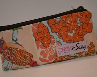 Peach Fabric Make up Bag, Small Size Cosmetic Bag, Lined Makeup Bag, Travel Makeup Bag
