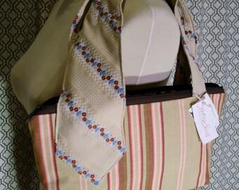 Tan Striped Fabric Vintage Tie Collection, Fabric Handmade Handbag, Ellie Bag