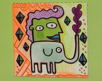 Raining Diamonds Elephant 12x12 Painting by Jelene