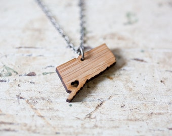Small Connecticut Necklace - Bamboo - Connecticut State Necklace Connecticut Charm CT Pendant Connecticut Map Connecticut Jewelry