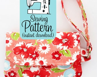 Fold Over Zip Wristlet PDF Sewing Pattern | Make a Foldover Style Clutch with a Zipper Closure and Wristlet Strap