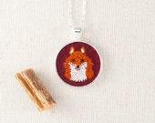 Fox Necklace - Woodland Necklace - Silver Circle Pendant - Burgundy - Embroidered Felt
